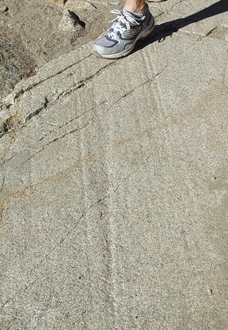 Glacial striations (foot shown for scale). By Laura Hollister.