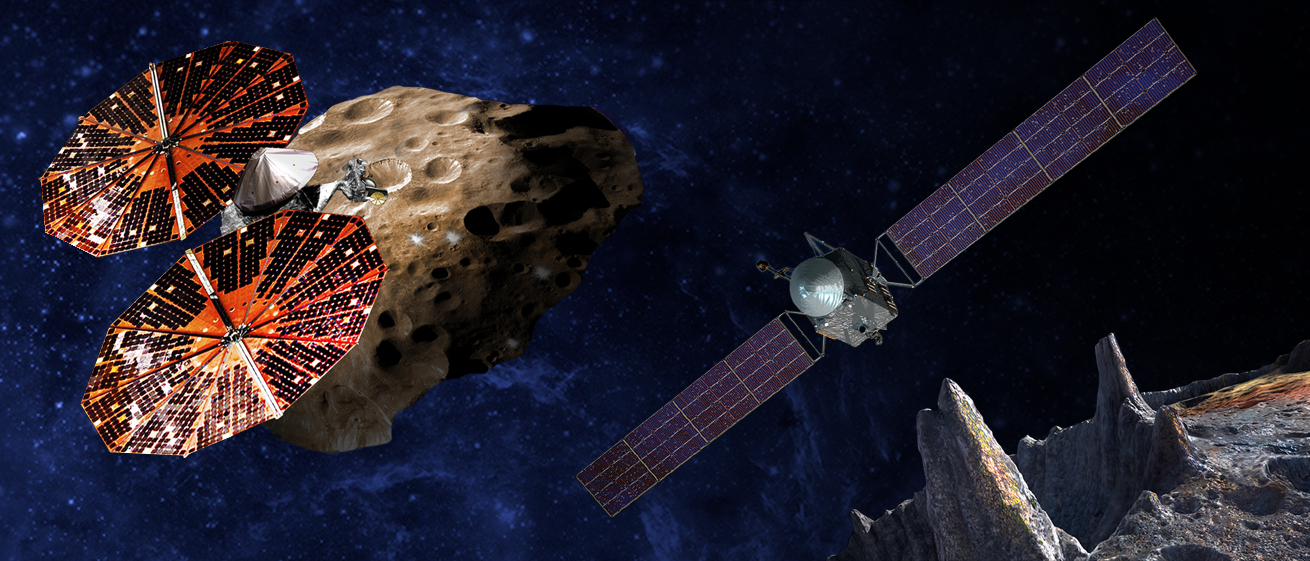 (Left) An artist's conception of the Lucy spacecraft flying by the Trojan Eurybates. Trojans are fossils of planet formation and will supply important clues to the earliest history of the solar system. (Right) Psyche, the first mission to the metal world 16 Psyche will examine a landscape unlike anything explored before. Psyche will teach us about the hidden cores of Earth, Mars, Mercury and Venus. Credit: SwRI and SSL/Peter Rubin
