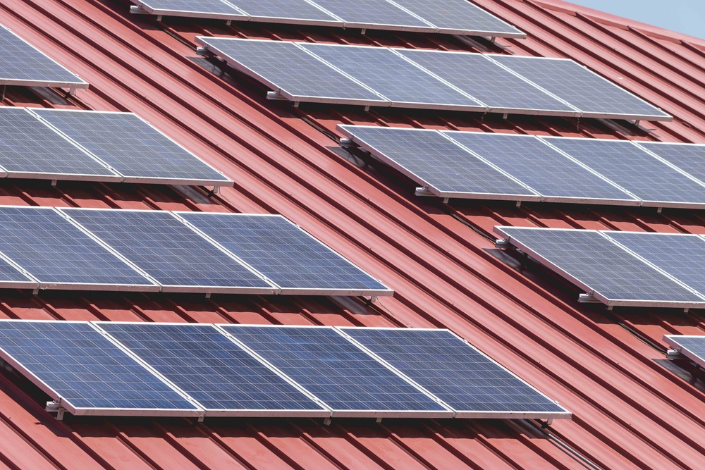 Solar panels on a roof. Credit: Shutterstock