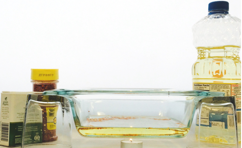 convection in glass dish with vegetable oil