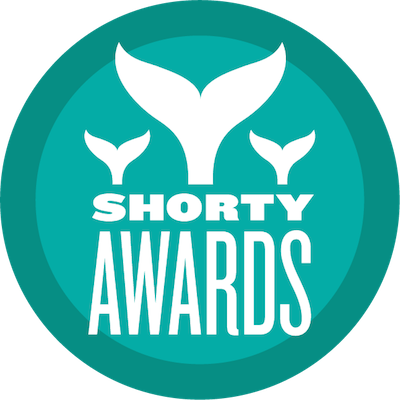 "logo with three whale tales with text ""shorty awards"""