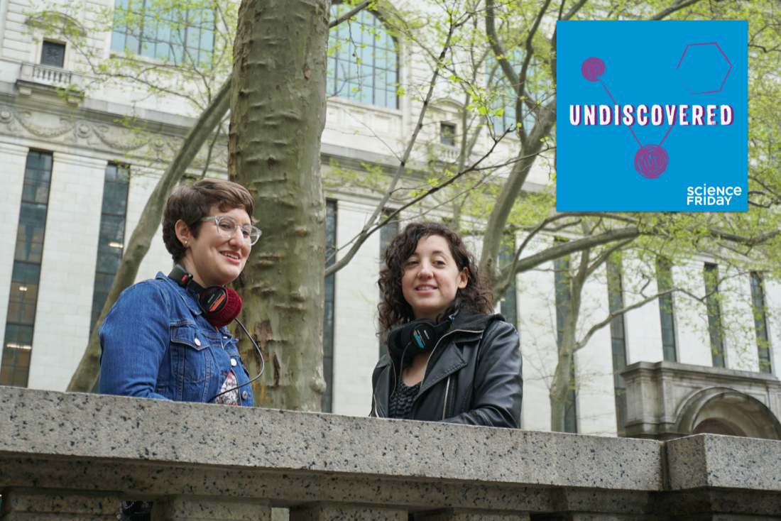 two women standing in park with headphones around their next with undiscovered podcast album art in corner