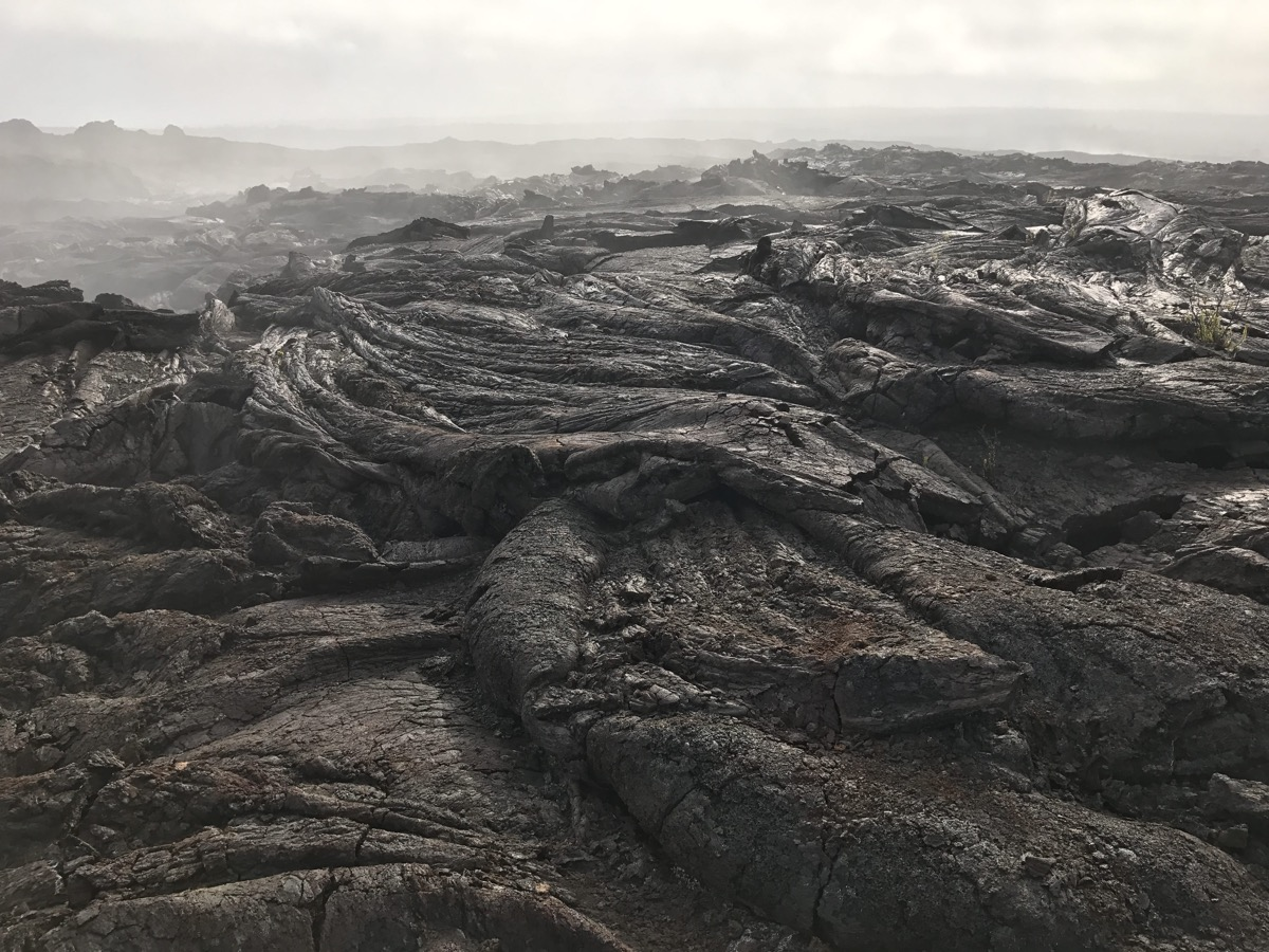 a field of black, rolling, hard lava