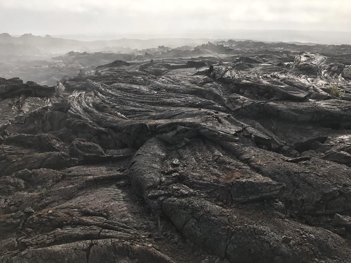 a field of black, rolling, hard lava