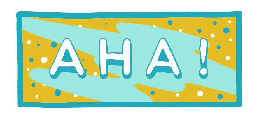 "Colorful logo with the word ""Aha"""