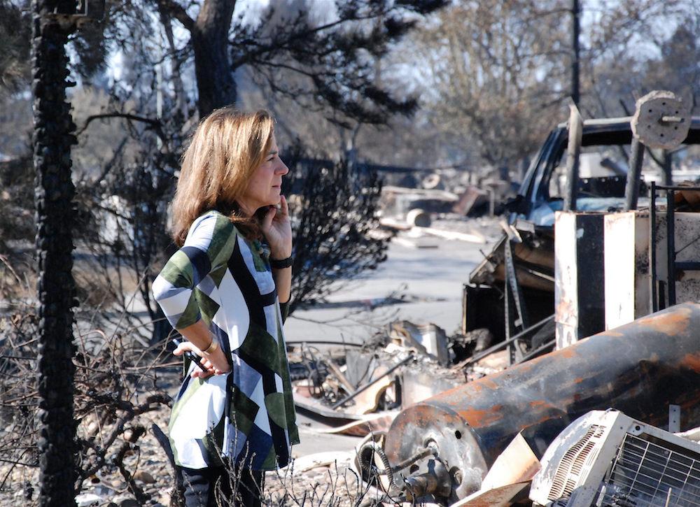 surveying fire damage