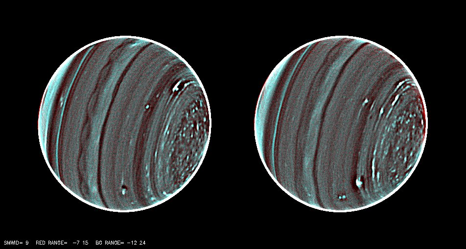 two images of Uranus with a teal blue tint