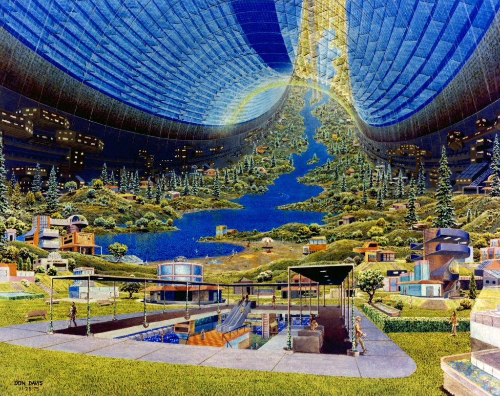 The interior view of a toroidal space colony
