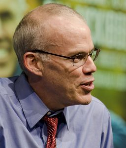 close up of bill mckibben speaking
