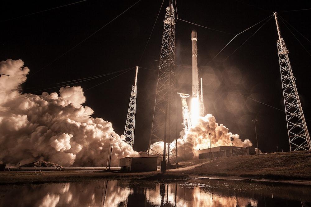 rocket launch at night