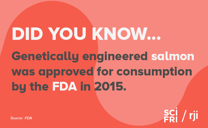 "Card that says ""did you know genetically engineered salmon was approved for consumption by the FDA in 2015."""
