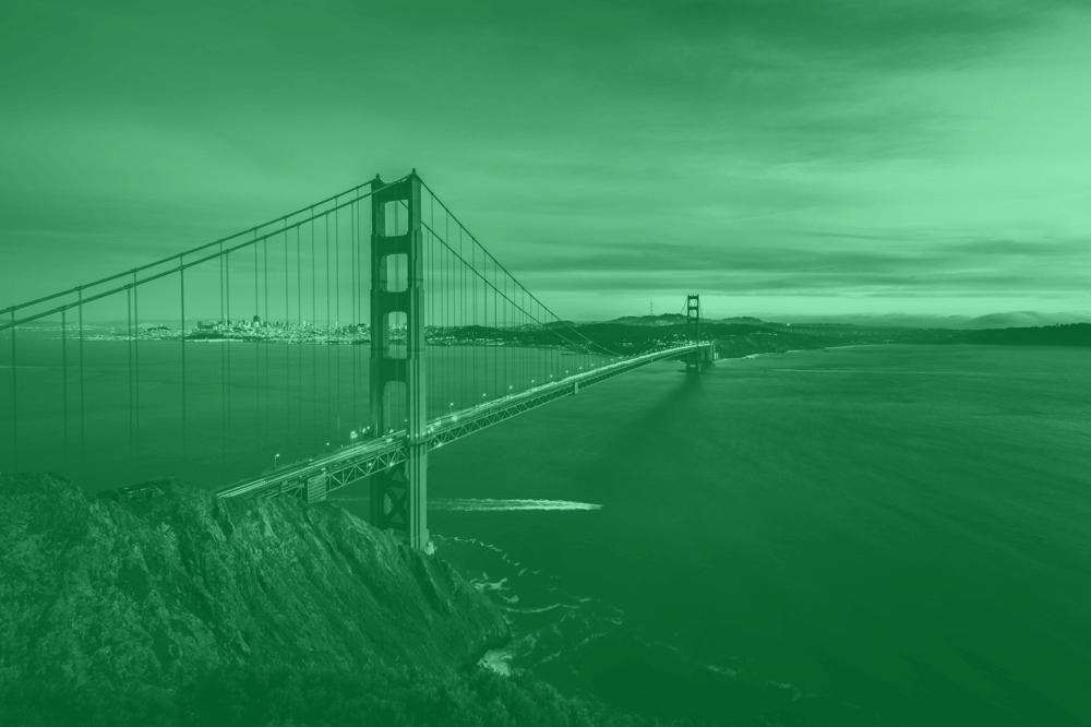 golden gate bridge with green tint
