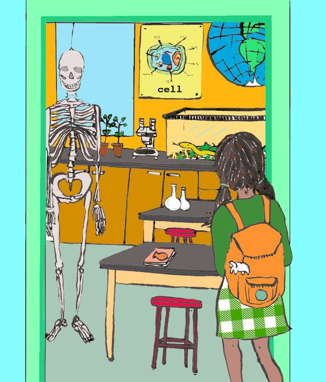 drawing of a student looking for her biology classroom