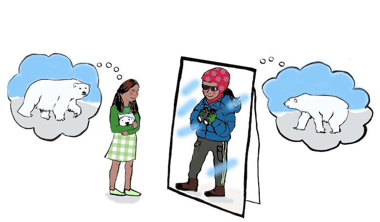 an illustration of a female student in front of a mirror and the reflection is of her as a polar bear researcher