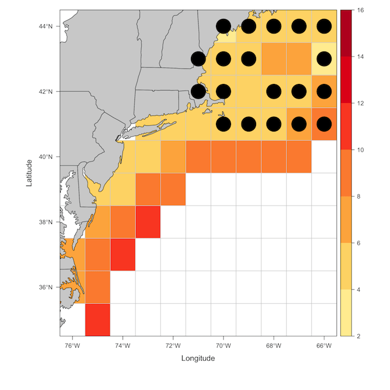 temperature map of the ocean off the coast of new england