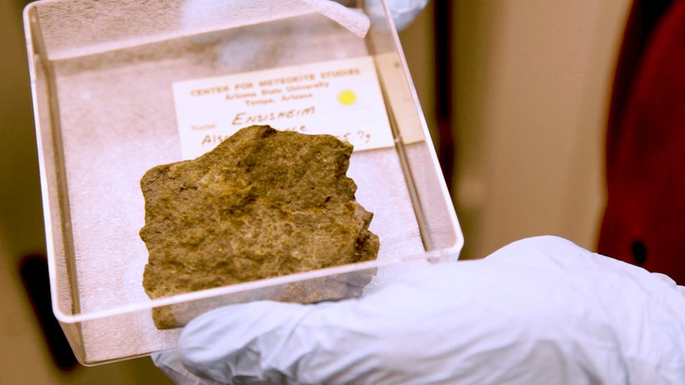 meteorite in box