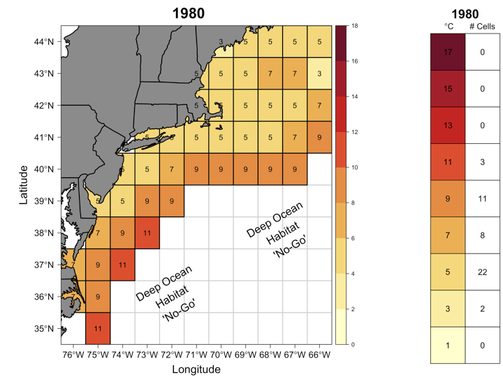 temperature map of the waters off the coast of new england in 1980
