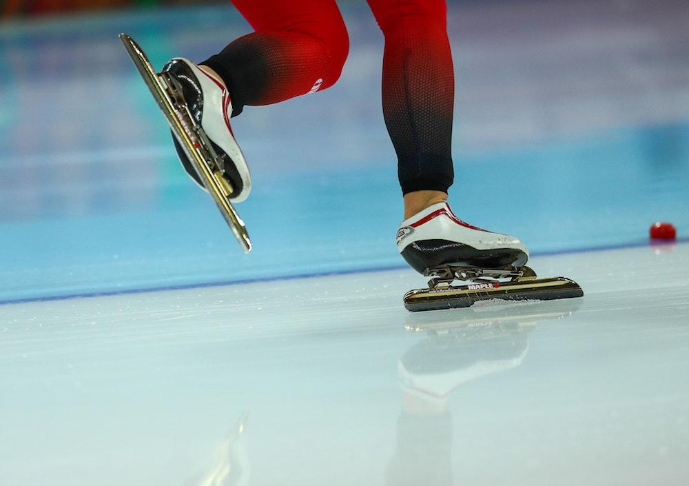close up shot of speed skater