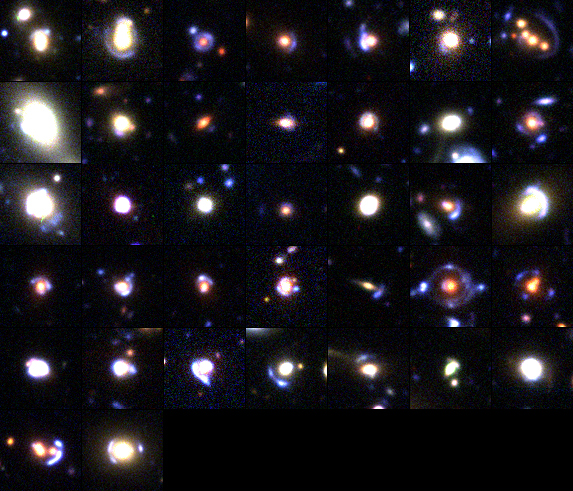 a collage of gravitational lenses