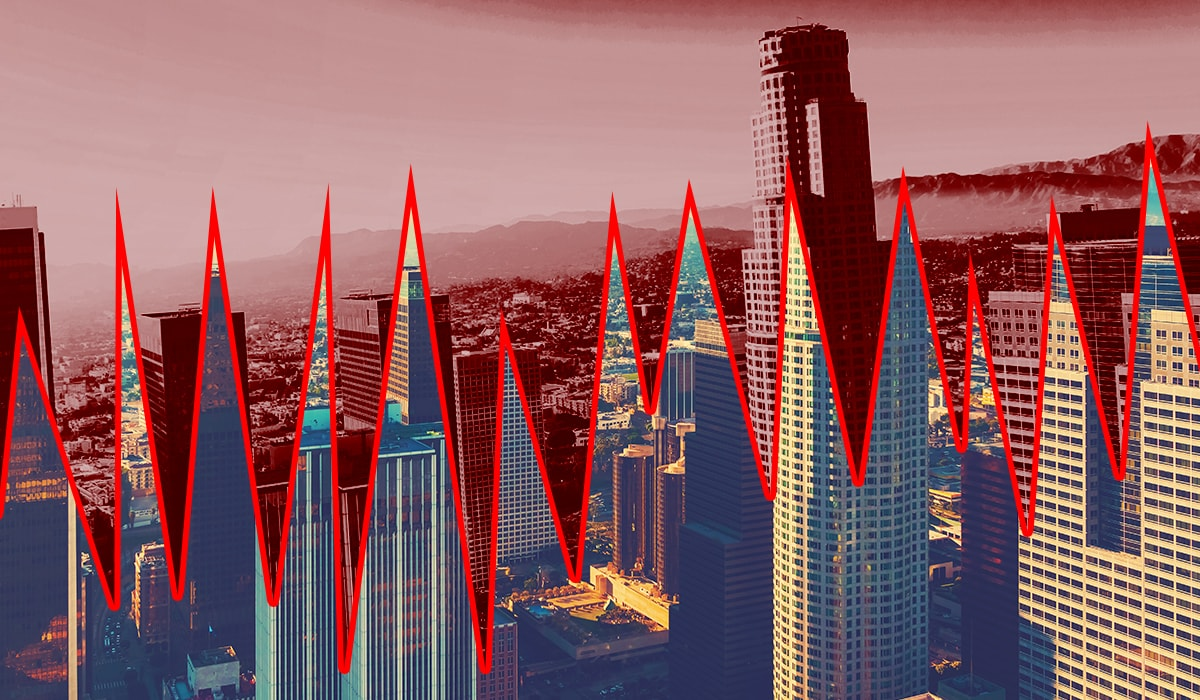 Graphic of Los Angeles skyline separated by earthquake