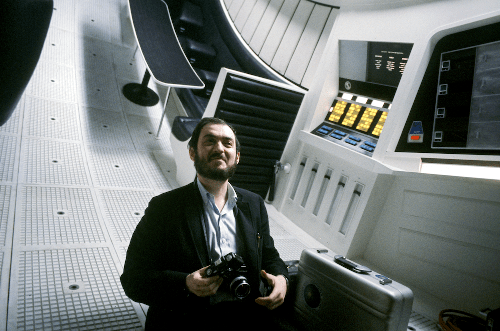 stanley kubrick on the set of 2001: a space odyssey