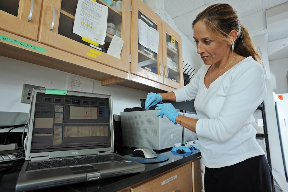 rachel noble in a lab using dna and molecular testing equipment