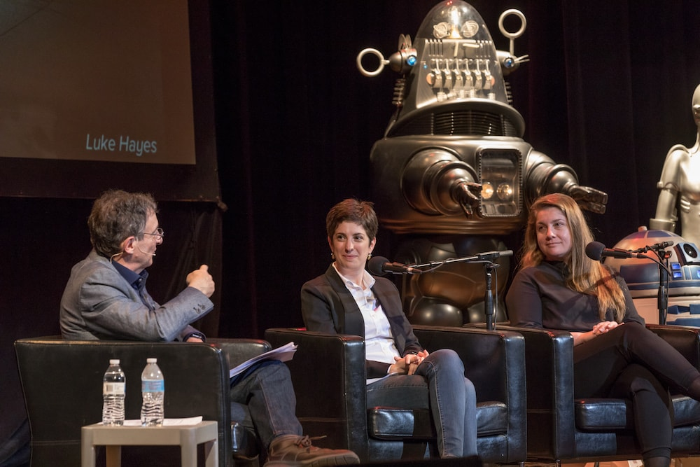 gannon and admoni, two roboticists, interviewed at a live event in pittsburgh