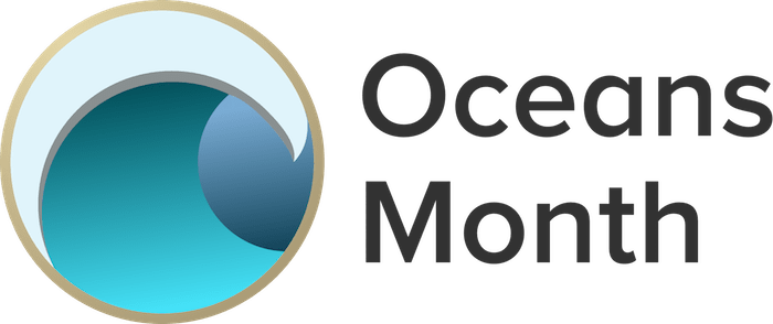 "icon of wave with words ""oceans month"" next to it"