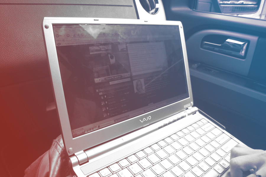 laptop in a car