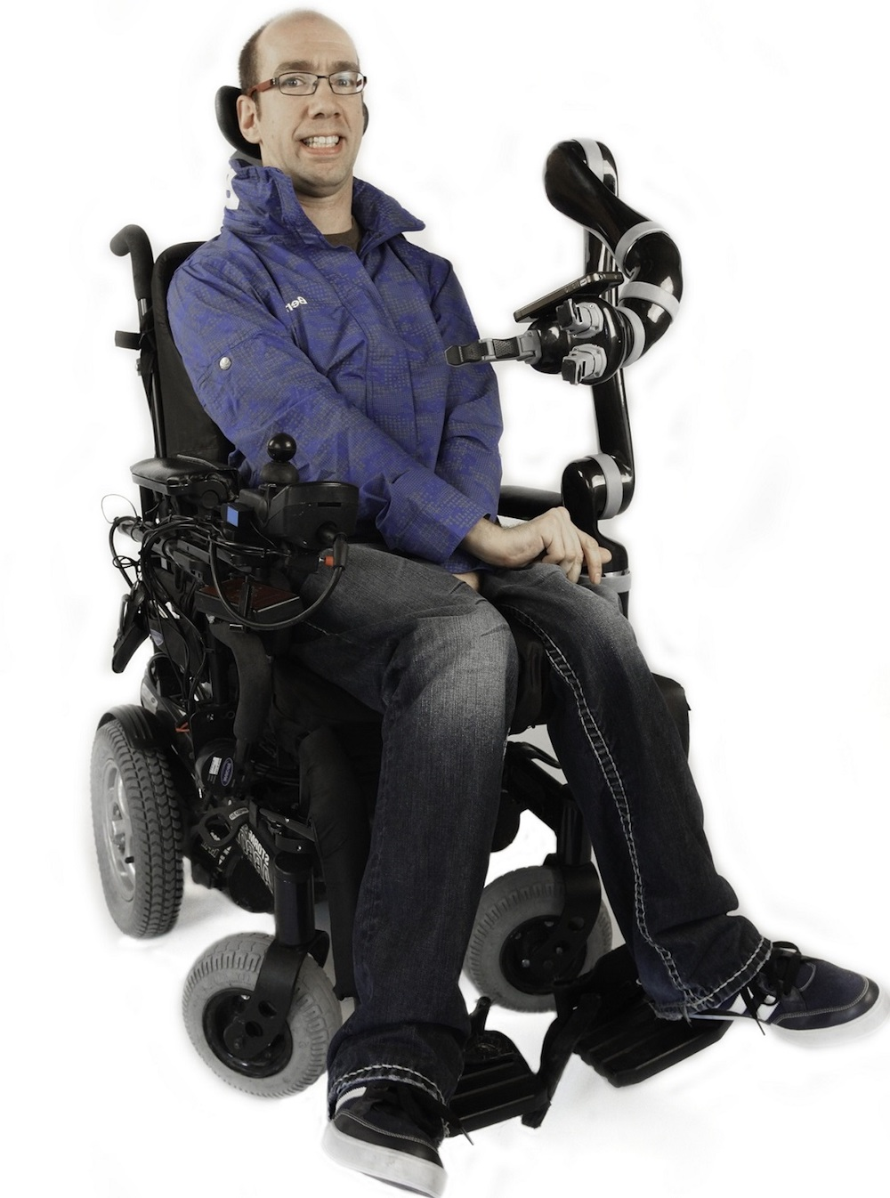 man in wheelchair with assistive robot