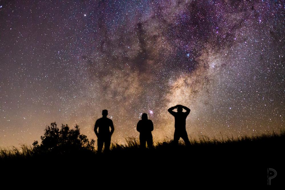people stargazing outside