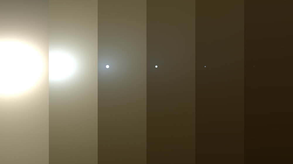 series of images shows simulated views of a darkening Martian sky blotting out the Sun from NASA's Opportunity rover's point of view