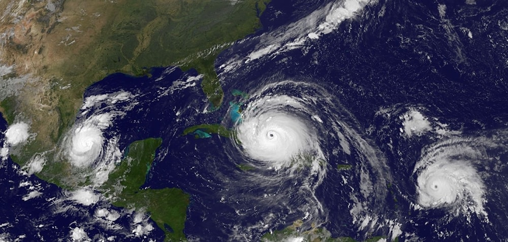 satellite image of hurricane along the southeast US