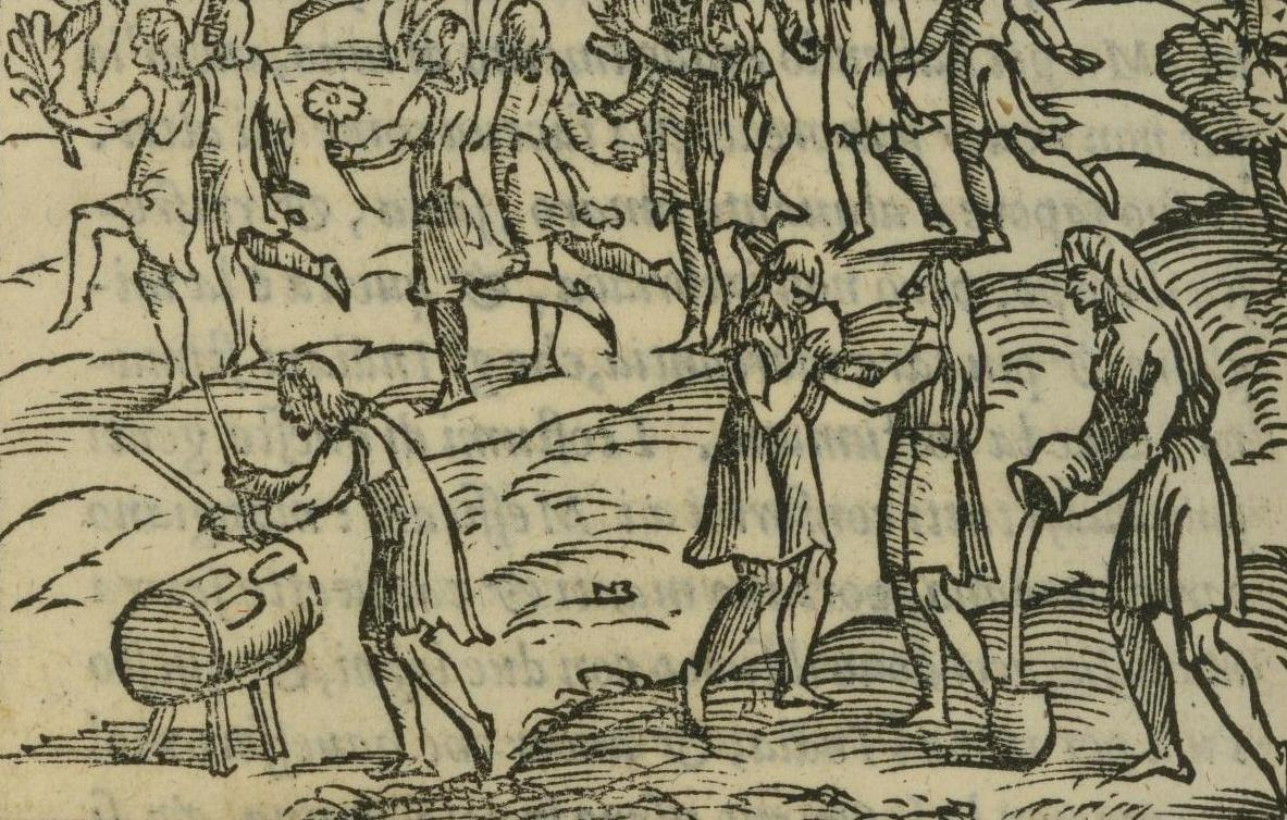 yellowed woodcut with people dancing and pouring drinks out of vessels