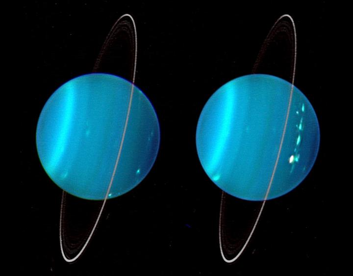 two blue spheres each with rings, both resembling the planet uranus