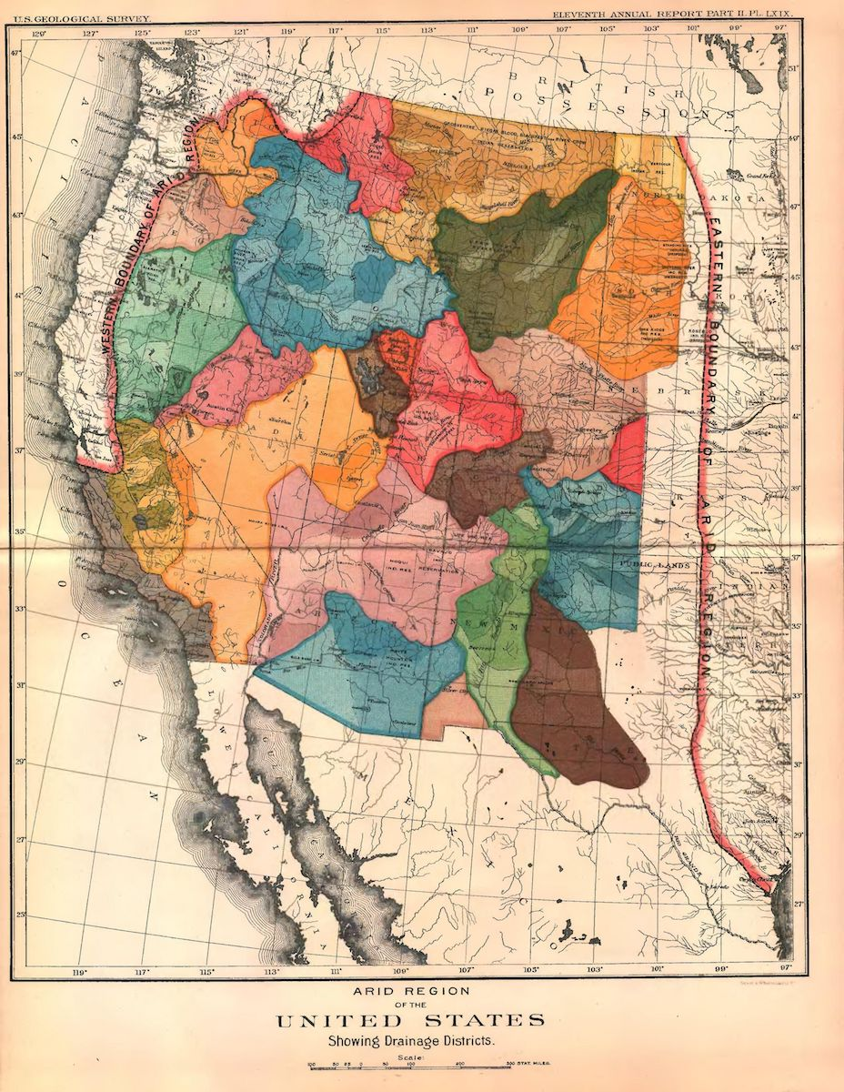 a colorful illustrated map of the western united states, which each colored region resembling a section divided off based on watersheds
