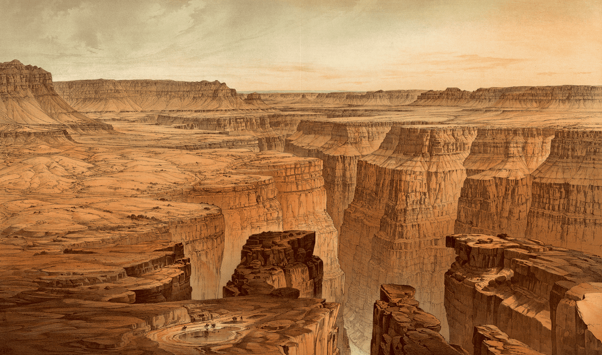 an illustrated orange colored panel of the grand canyon, with the canyon winding like snake