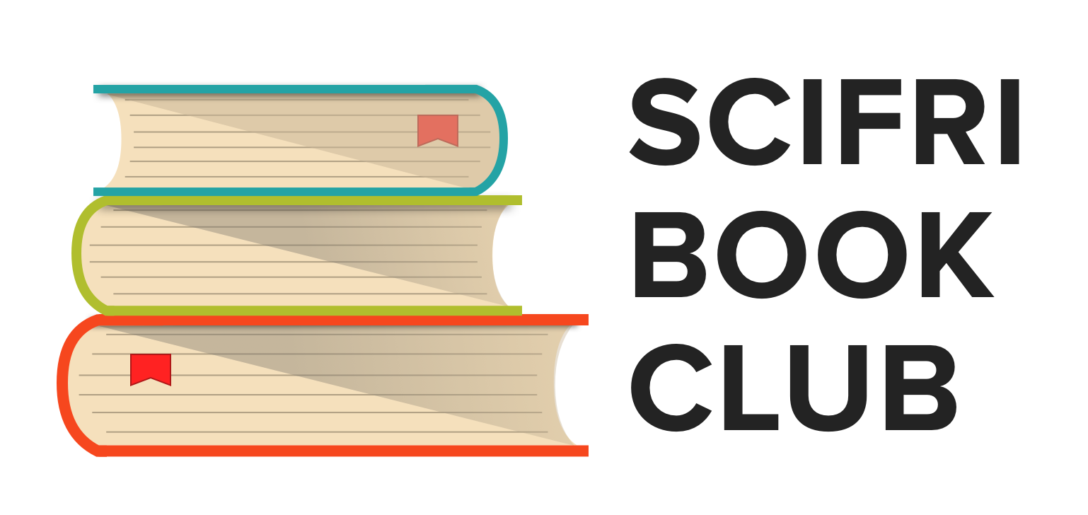 "illustrated stack of books with text ""scifri book club"""