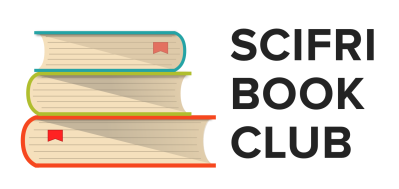 """illustrated stack of books with text """"scifri book club"""""""