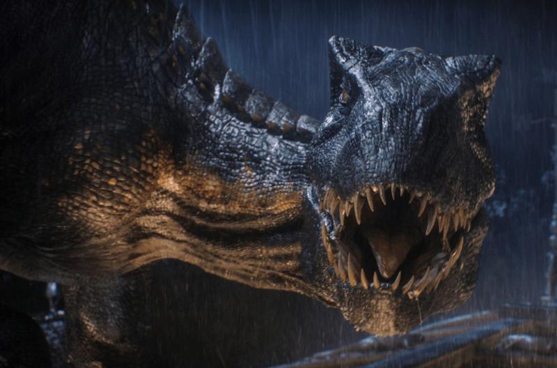 "a dinosaur in the dark in the rain from the movie ""jurassic world: fallen kingdom"""