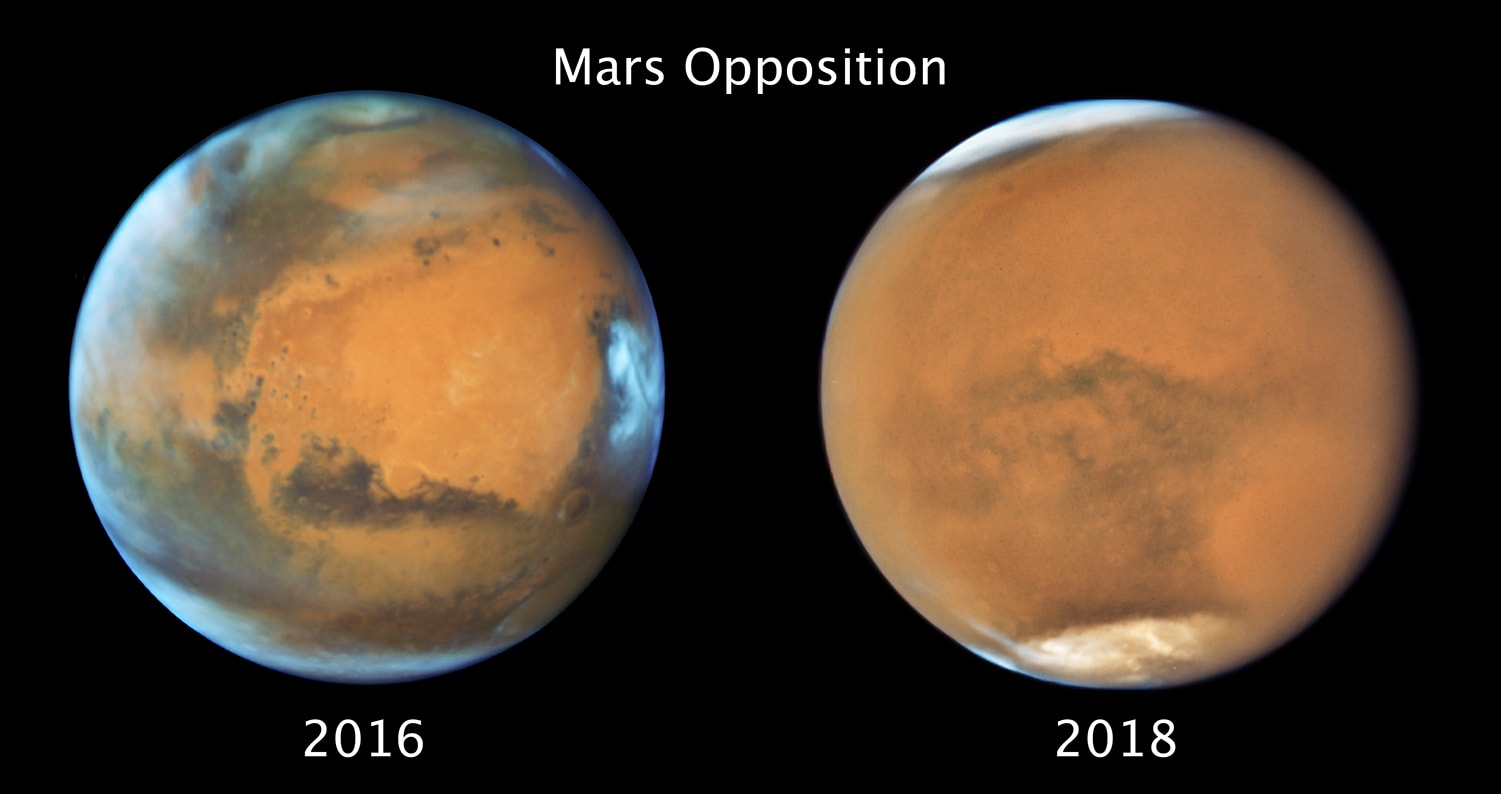 Two images of Mars, taken two years apart. One is clear, the other has a massive dust storm.