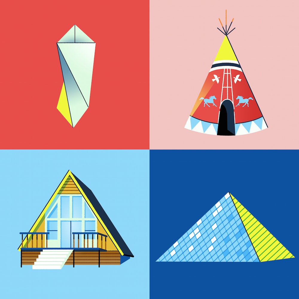 four illustrations of structures made using triangular shapes, such as a pyramid and a teepee