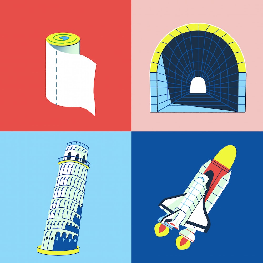 four illustrations of using cylinders to build structures such as a rocket and the leaning tower of pisa