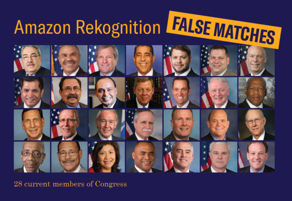 """headshots of 28 members of congress with text """"Amazon Rekognition; False Matches; 28 current members of congress"""""""