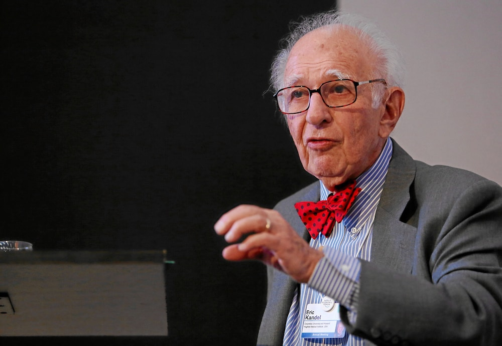 eric kandel wearing red bow tie and gesturing with hand with giving a speech