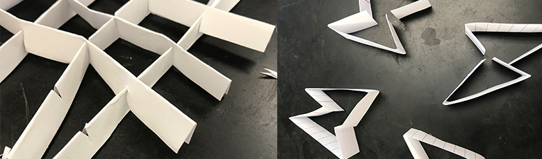 two side-by-side images of paper triangles on a table