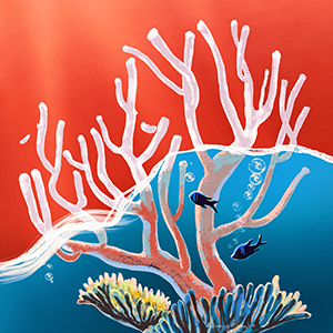 an illustration of a coral half submerged in water, one half in color, and one half bleached