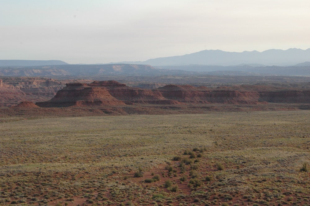 desert landscape against blue sky