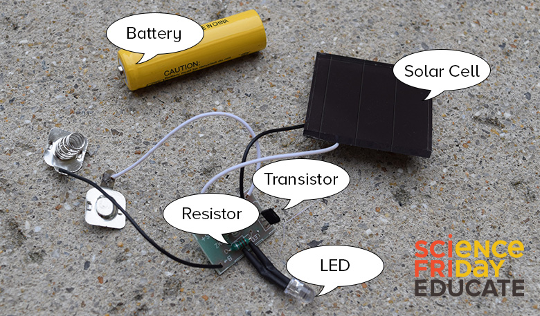 A picture of the typical components of an average solar garden light on a concrete background
