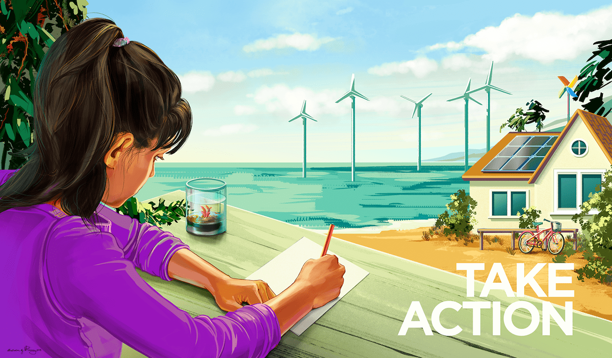 girl on bench with paper and pencil outside overlooking house with solar panel, ocean, and windmills in ocean